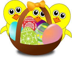 clipart funny cartoon with easter eggs in a basket