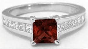 garnet engagement ring princess cut garnet rings in 14k white gold with channel setting