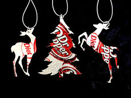 recycled diet dr pepper soda can 3 ornament set
