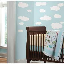 Baby Nursery Wall Decals by Roommates 10 In X 18 In Clouds White Bkgnd 19 Piece Peel And