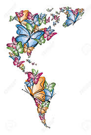 World Map Silhouette North And South America World Map Silhouette Made Of Butterfly