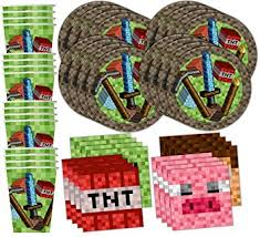 minecraft party supplies mining pixel world birthday party supplies set plates
