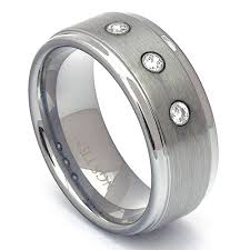 men s wedding band tungsten wedding band mens diamond ring step edge