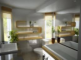 yellow bookshelving in modern bathroom lighting with houseplant