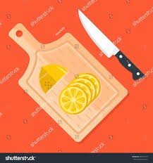 kitchen cutting knives lemon slices on kitchen cutting board stock vector 695747113