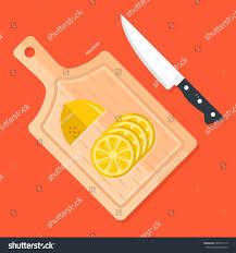 lemon slices on kitchen cutting board stock vector 695747113