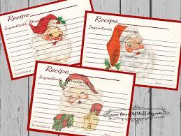 christmas recipe card set 4x6 printable santa recipe cards 3x5