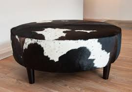 pattern fabric ottoman black and wite cow pattern round unique fabric ottoman room and