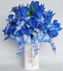 wisteria home decor silk flower arrangement blue iris blue wisteria floral vase