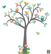 owl tree wall decal nursery wall decal coral yellow