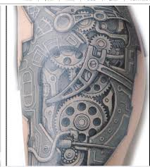 classic style of biomechanical tattoo designs with grey ink