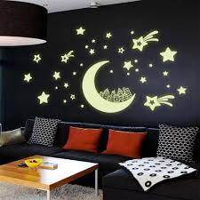 plafond chambre étoilé etoile lune maison autocollant mural phosphorescent mural déco pour
