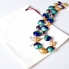 color beads necklace images Balbi blown glass beads necklace blue color jpg