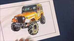 jeep drawing realistic speed car drawing time lapse desenho realista jeep