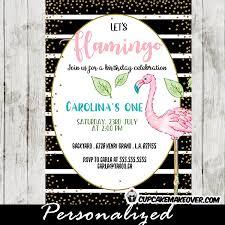 flamingo birthday invitations black white stripes gold sprinkles