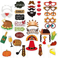38pcs thanksgiving day photo booth props colorful for