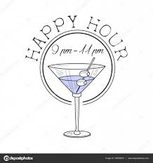 martini illustration bar happy hour promotion sign design template hand drawn hipster