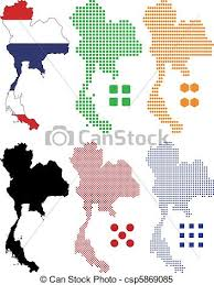 thailand vector map vector illustration pixel map and flag of thailand clipart vector