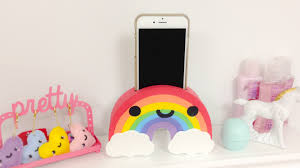 diy rainbow phone holder easy room decor ideas youtube