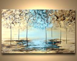 original abstract modern landscape made colorful blooming trees by osnat modern landscape painting