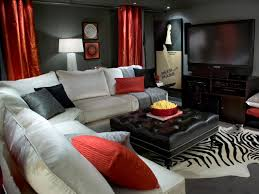 rustic media room ideas with game area inside cozy sofa facing big