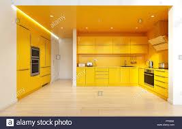 modern kitchen design yellow modern yellow color kitchen interior 3d rendering design