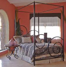 stylish metal canopy bed frame modern wall sconces and bed ideas