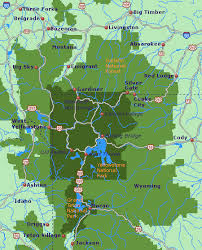 map of areas and surrounding areas yellowstone national park area map go northwest a travel guide