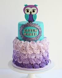 owl cake teal and purple owl cake cake by seda molina cakesdecor
