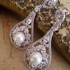Chandelier Pearl Earrings For Wedding Shop Cz Chandelier Earrings Bridal On Wanelo
