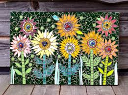 best 25 modern outdoor wall art ideas only on pinterest lays zany daisies mixed media mosaic outdoor wall art by 22mosaics