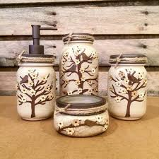 Mason Jar Bathroom Decor Mason Jar Desk Set Mason Jar Bathroom Set Painted Mason Jar