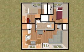 the 3d top view of 20 u0027 x 20 u0027 400 sq ft 2 bedroom 3 4 bath that has
