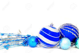 group of blue christmas baubles and branches arranged as a border