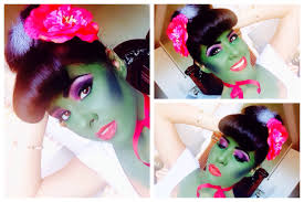 halloween look frankenstein wife pin up hair and makeup