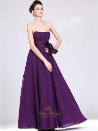 purple strapless chiffon full length bridesmaid dresses with