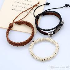 bracelet with beads images Men 39 s retro bracelets suit set diy handmade woven leather jpg