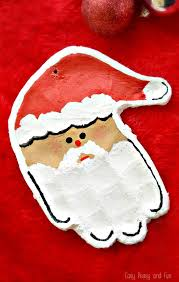 handprint santa salt dough ornament easy peasy and