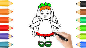 little doll coloring pages u0026 drawing for children how to color