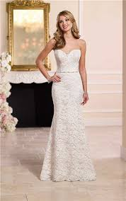 mermaid sweetheart floral lace wedding dress with crystals belt