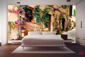 mural retro street with beautiful flowers 2 wallpapers mural retro street with beautiful flowers 2