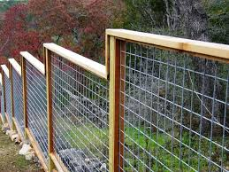 wooden minimalist fence with wire garden gates fencing