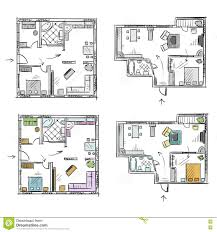 apartment plan with furniture vector sketch stock vector image