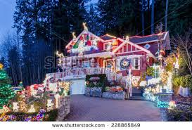 New Year House Decoration by House Decorated Lighted Christmas New Year Stock Photo 113605411