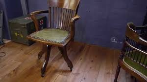 antique solid oak captains swivel desk chair youtube