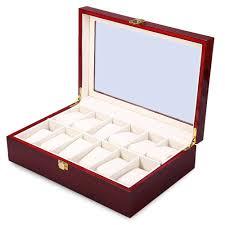 bracelet display box images New luxury 12 slots wood watch box display case glass top bracelet jpg