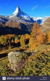 view to matterhorn in autumn switzerland valais stock photo