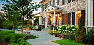 exterior elevated front yard landscaping with easy front yard