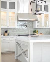 Marble Subway Tile Kitchen Backsplash Bright White Kitchen With Pale Blue Subway Tile Backsplash