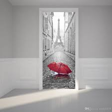 Self Adhesive Wallpaper by The Eiffel Tower Red Umbrella Door Stickers 3d Pvc Self Adhesive